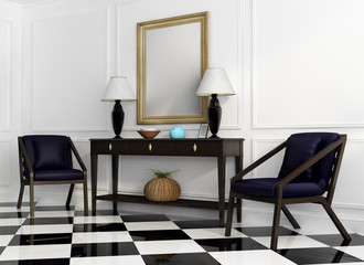 Vintage console table, purple chairs checker floor perspective