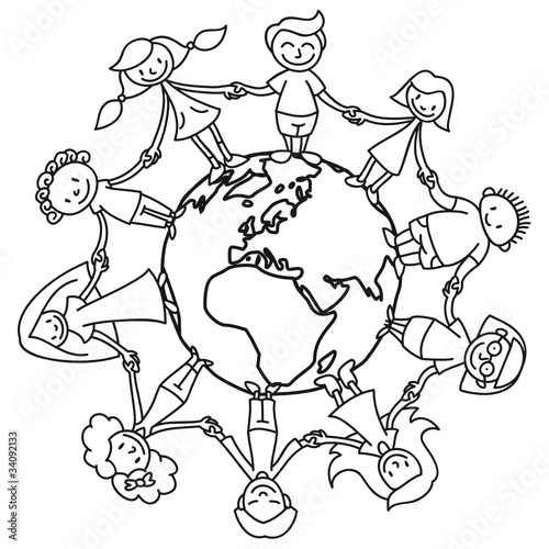 Kinderkreis, Erde, Ausmalbild\