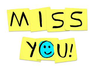 Miss You - Words on Yellow Sticky Notes