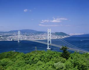 新緑の明石海峡大橋