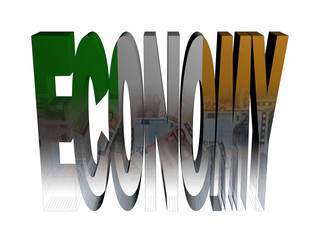 Economy text with Irish flag and euros illustration