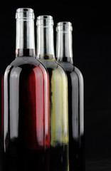 Three colors of wine in bottles