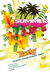 Summer party white background palm