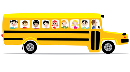 school bus and children