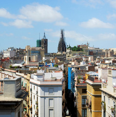 panorama of Barcelona with a kind on the Cathedral, Spain