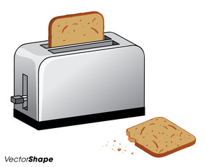 Bread toaster with toasted bread inside and one bitten piece