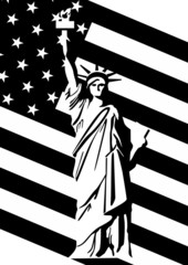 Statue of Liberty and U.S. flag