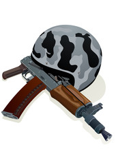 Helmet and gun