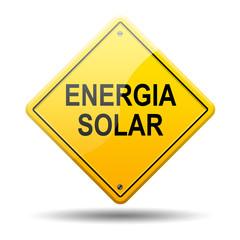 Señal amarilla texto ENERGIA SOLAR