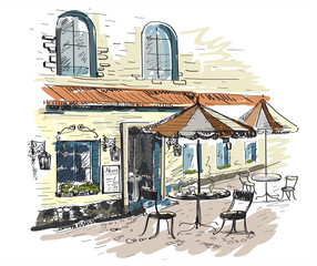 Papiers peints Drawn Street cafe Street cafe