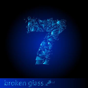 Broken glass  - digit seven