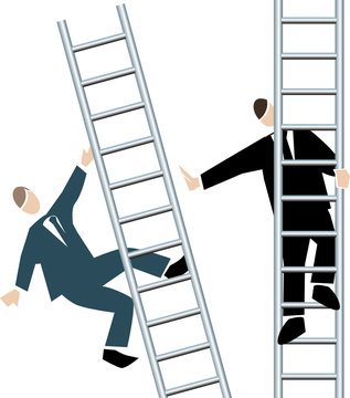 Symbolising business transparent white-pushed off the ladder