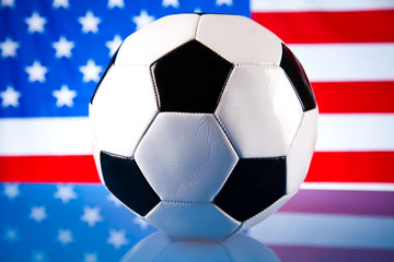 american flag and soccerball