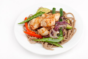 chicken with noodles and vegetables