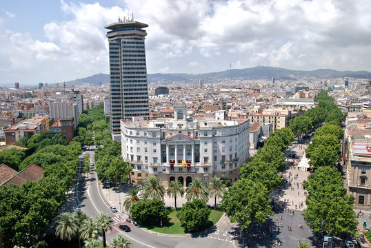Aerial view of the Ramblas in the center of Barcelona, Spain