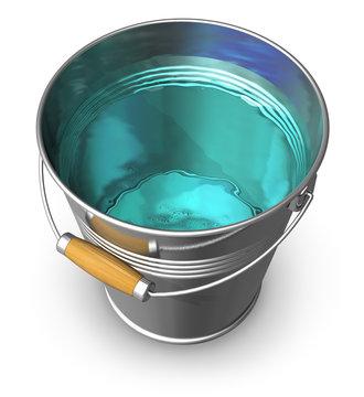 Metal bucket full of clear water