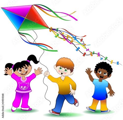 Bambini giocano con aquilone children playing with kite for Immagini vector