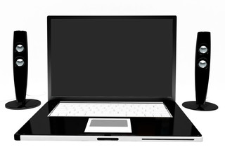 Black laptop and two loudspeakers