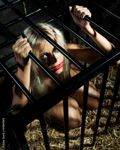 Girls locked in bondage