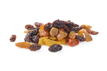 dry raisin on white background