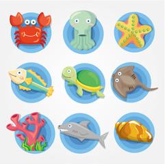 cartoon Aquarium animal icons set ,fish icons