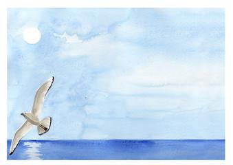 Gabbiano sul mare. Acquerello in blu.