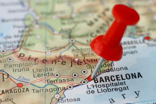 Pushpin on the map - Barcelona, Spain