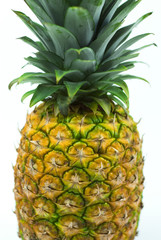 fresh pineapple fruits with green leaves