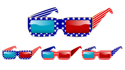 3d usa glasses isolated on white background