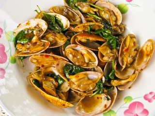 fried Clams Shell with basil leaf
