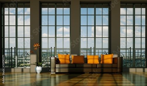 wohndesign braunes ledersofa vor fensterfront stockfotos und lizenzfreie bilder auf fotolia. Black Bedroom Furniture Sets. Home Design Ideas