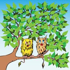 Two strange enamoured beings sit on a tree.