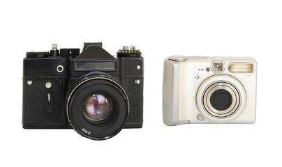 Vintage and modern photocameras