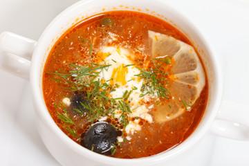 meat soup with lemon