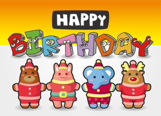 cartoon animal birthday card