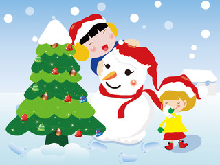 Christmas card, Children and Snowman