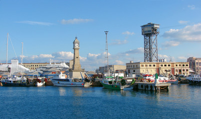 ships and tower in barcelonian port
