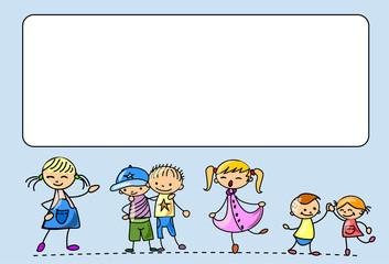 Счастливые дети танцевать, петь, прыгать, бегать