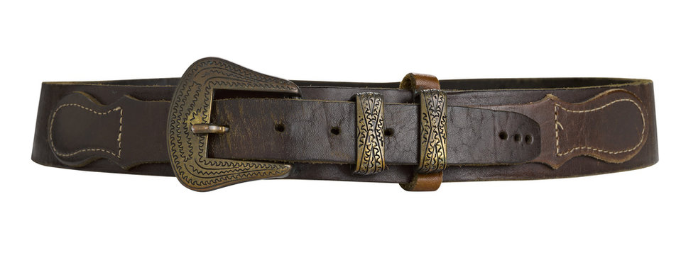 brown leather belt isolated on white background.