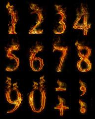 Texteffekt Flammen Zahlen