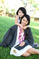 Mother and Daughter Celebrating Graduation
