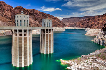 Hoover Dam in Black Canyon of Colorado river