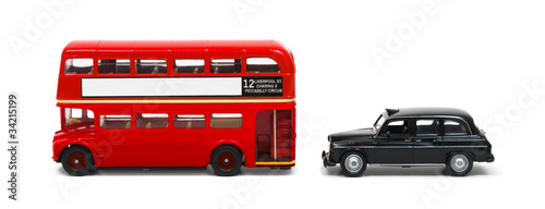red london bus and taxi isolated on white stockfotos und. Black Bedroom Furniture Sets. Home Design Ideas