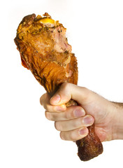 Turkey Leg On Male Hand