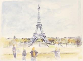 Poster Illustration Paris Tour eiffel