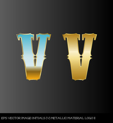 eps Vector image:initials(V)metallic material logo II
