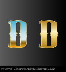 Fototapeta eps Vector image:initials(D)metallic material logo II obraz