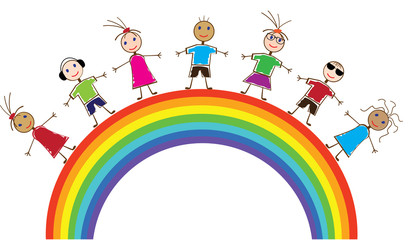 Spoed Fotobehang Regenboog vector funny people and rainbow