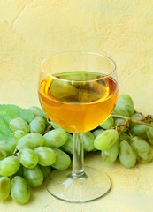 glass of white wine and a branch of green grapes