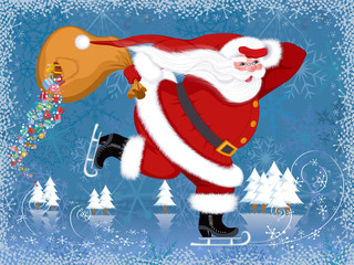 Santa Claus skating with the torn bag from which gifts falling